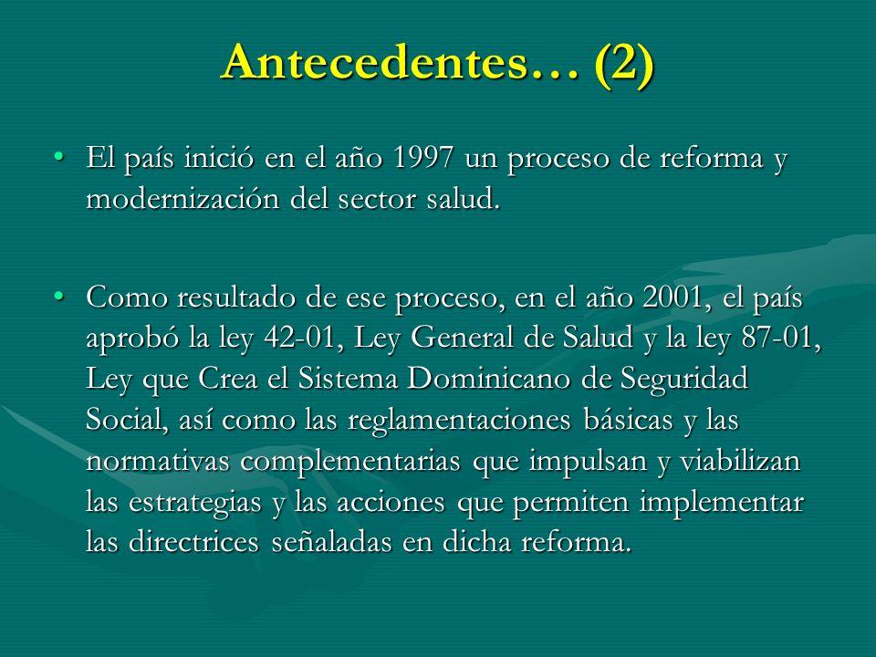 Antecedentes… (2) El país inició en el año 1997 un proceso de reforma y modernización del sector salud.