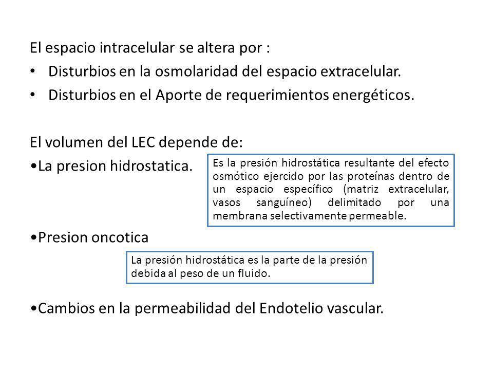 El espacio intracelular se altera por :