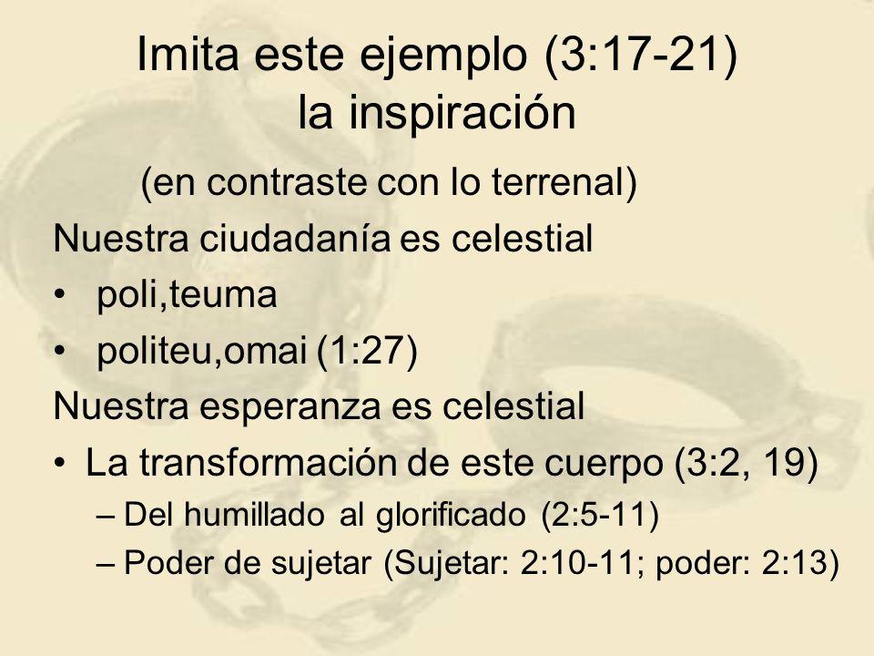 Imita este ejemplo (3:17-21) la inspiración