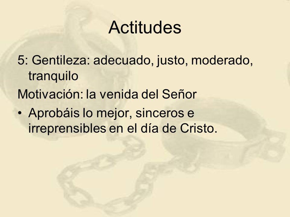 Actitudes 5: Gentileza: adecuado, justo, moderado, tranquilo