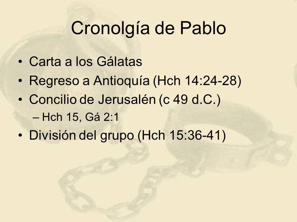 Cronolgía de Pablo Carta a los Gálatas