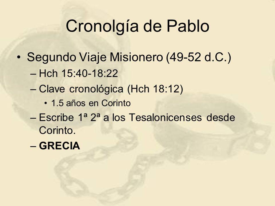 Cronolgía de Pablo Segundo Viaje Misionero (49-52 d.C.)