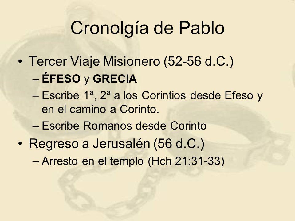 Cronolgía de Pablo Tercer Viaje Misionero (52-56 d.C.)