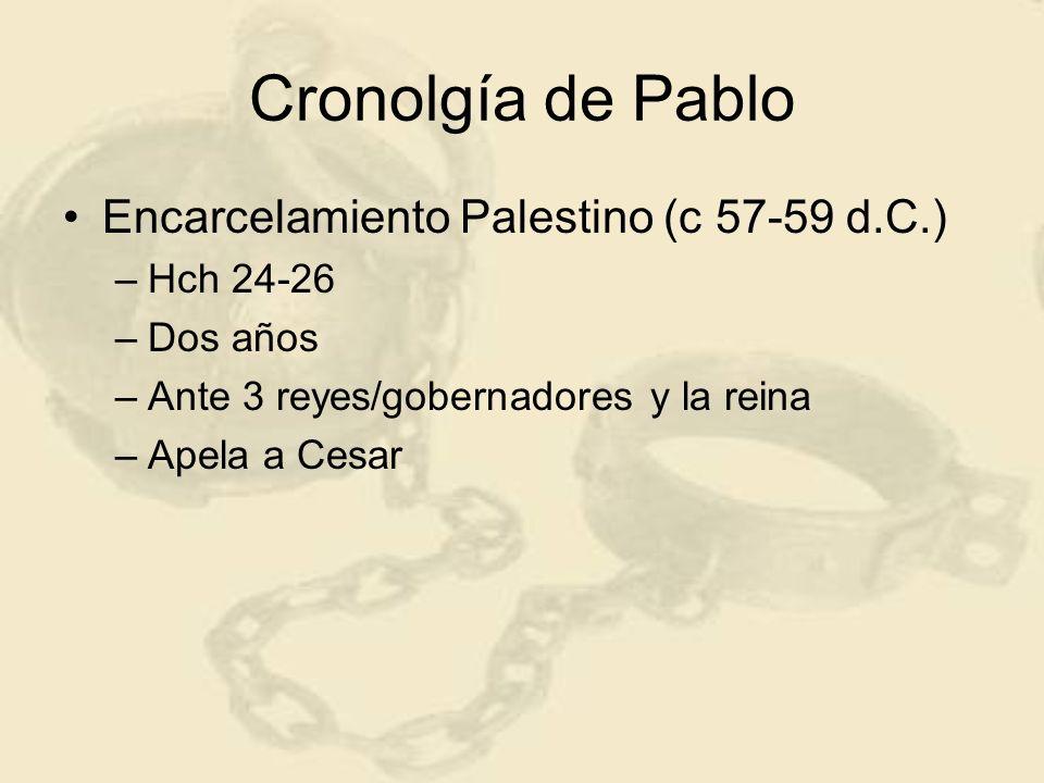 Cronolgía de Pablo Encarcelamiento Palestino (c 57-59 d.C.) Hch 24-26