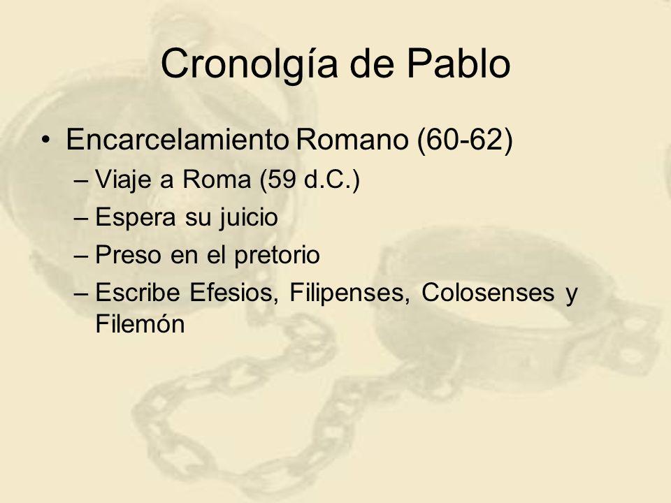 Cronolgía de Pablo Encarcelamiento Romano (60-62)