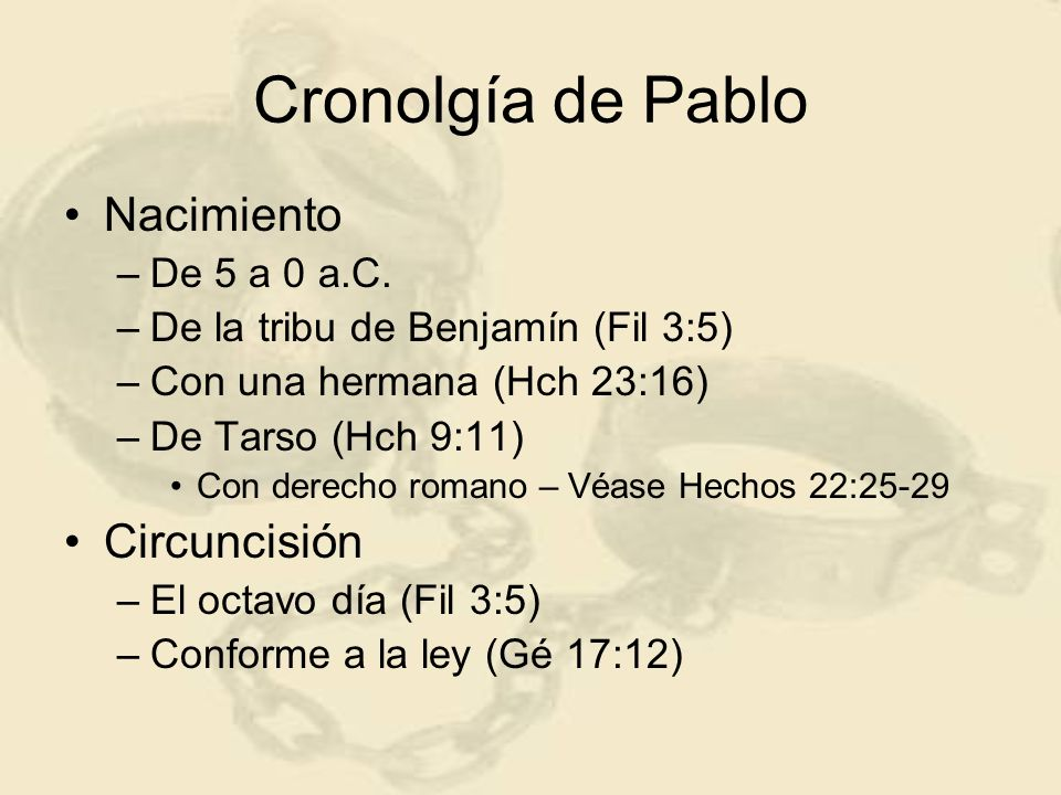 Cronolgía de Pablo Nacimiento Circuncisión De 5 a 0 a.C.