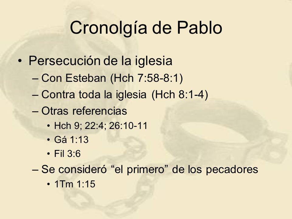 Cronolgía de Pablo Persecución de la iglesia