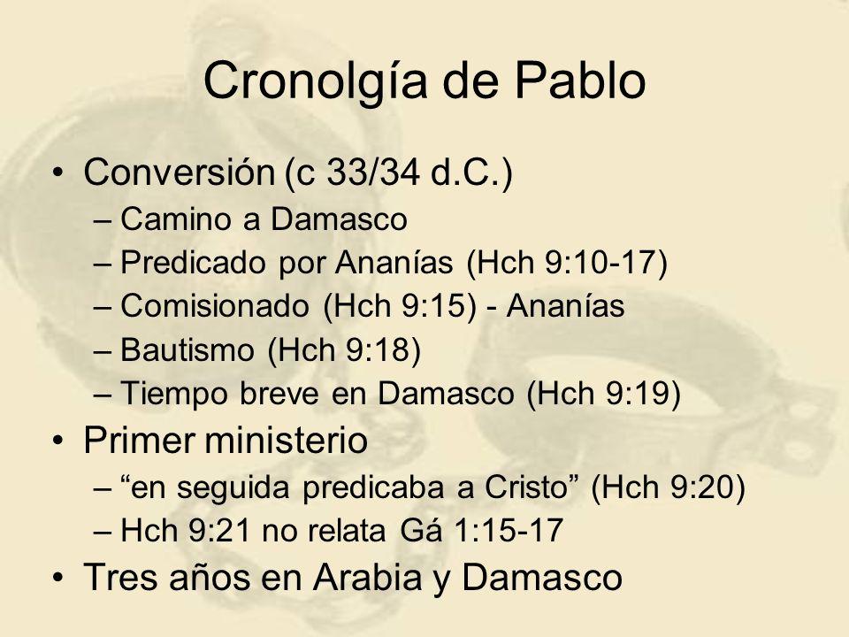 Cronolgía de Pablo Conversión (c 33/34 d.C.) Primer ministerio