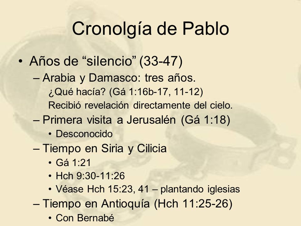 Cronolgía de Pablo Años de silencio (33-47)