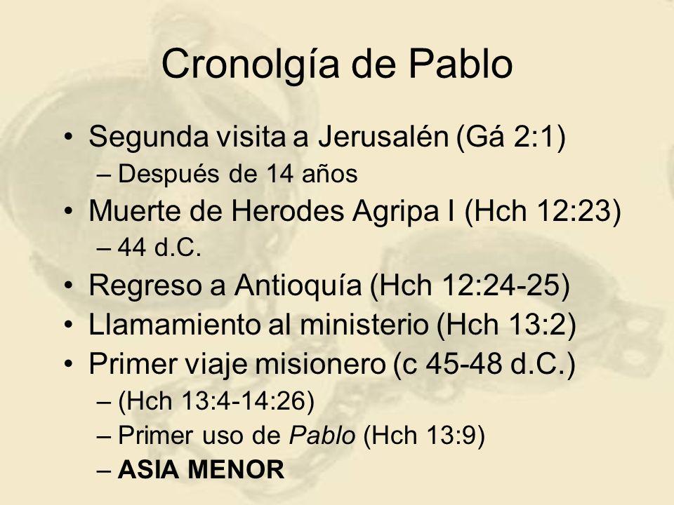 Cronolgía de Pablo Segunda visita a Jerusalén (Gá 2:1)