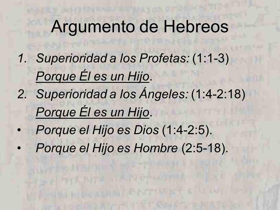 Argumento de Hebreos Superioridad a los Profetas: (1:1-3)
