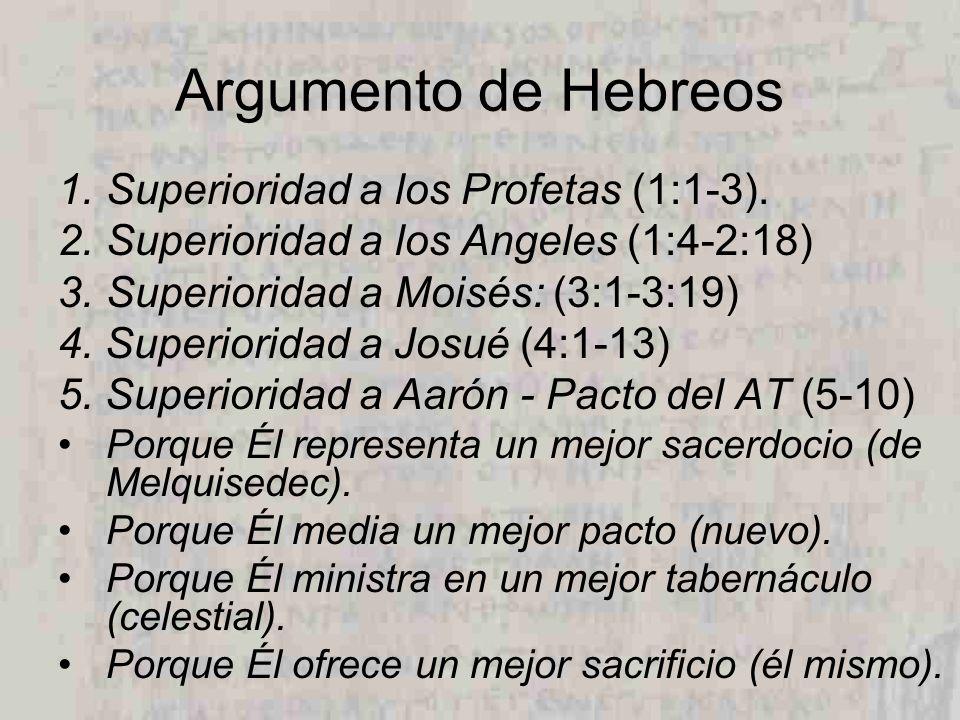 Argumento de Hebreos Superioridad a los Profetas (1:1-3).