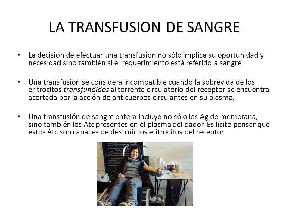 LA TRANSFUSION DE SANGRE