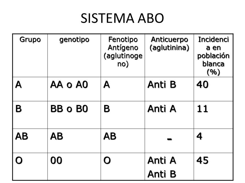 SISTEMA ABO - A AA o A0 Anti B 40 B BB o B0 Anti A 11 AB 4 O 00 45