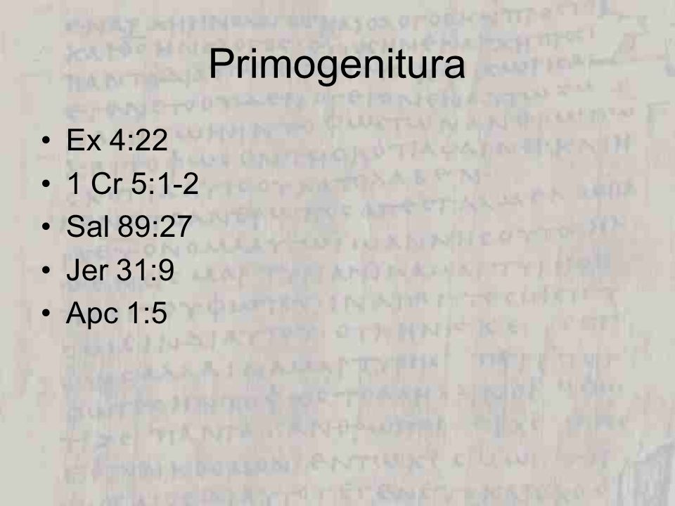 Primogenitura Ex 4:22 1 Cr 5:1-2 Sal 89:27 Jer 31:9 Apc 1:5