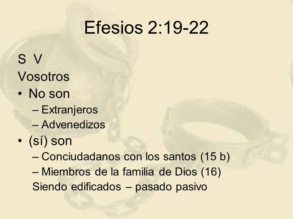 Efesios 2:19-22 S V Vosotros No son (sí) son Extranjeros Advenedizos
