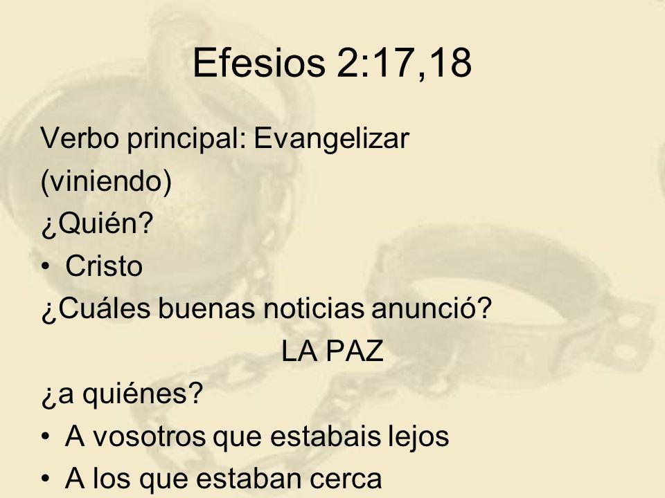 Efesios 2:17,18 Verbo principal: Evangelizar (viniendo) ¿Quién Cristo
