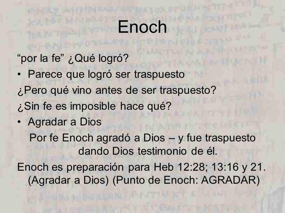 Enoch por la fe ¿Qué logró Parece que logró ser traspuesto