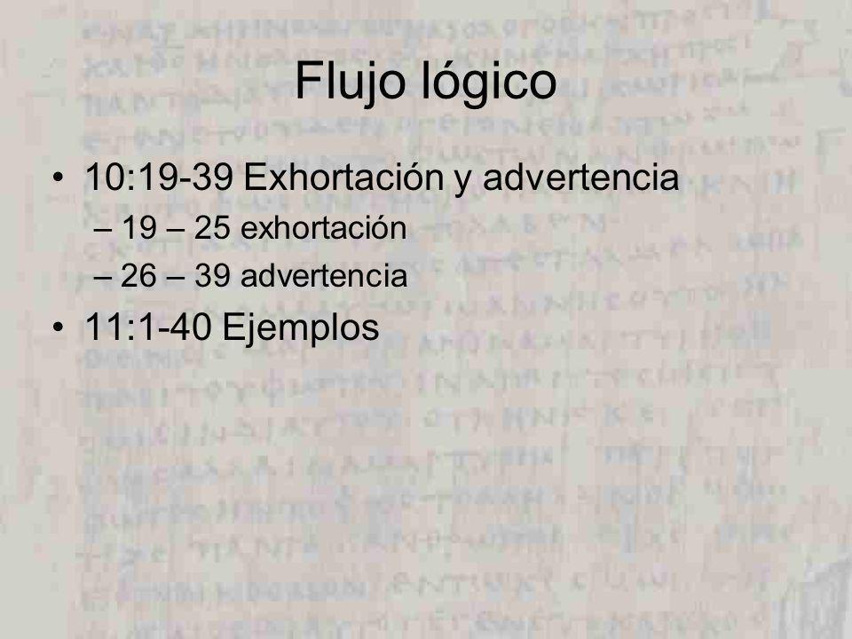 Flujo lógico 10:19-39 Exhortación y advertencia 11:1-40 Ejemplos
