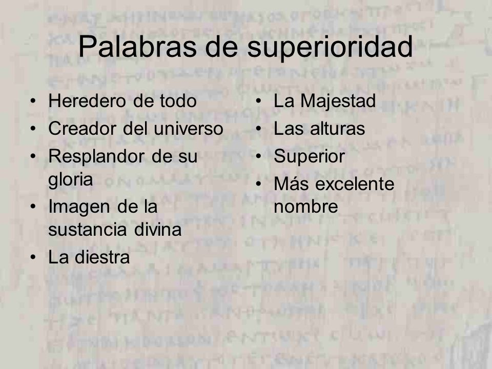 Palabras de superioridad
