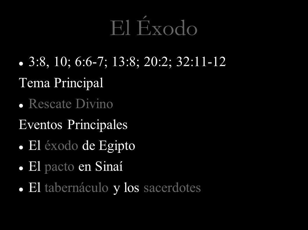 El Éxodo 3:8, 10; 6:6-7; 13:8; 20:2; 32:11-12 Tema Principal