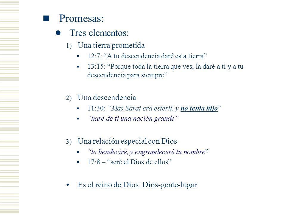 Promesas: Tres elementos: Una tierra prometida Una descendencia