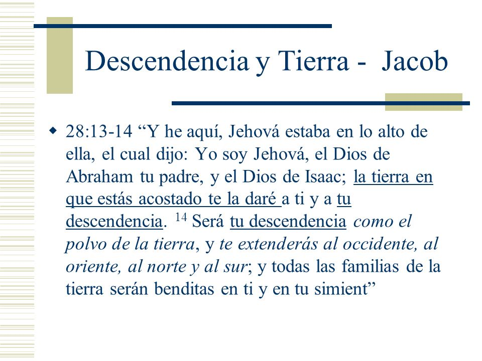 Descendencia y Tierra - Jacob