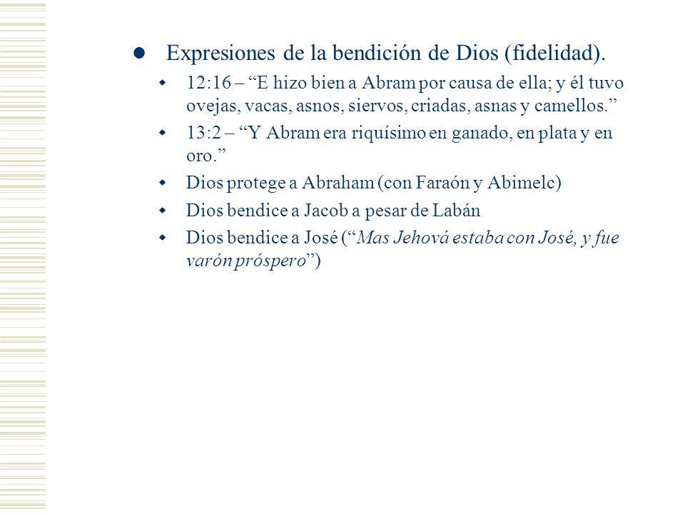 Expresiones de la bendición de Dios (fidelidad).