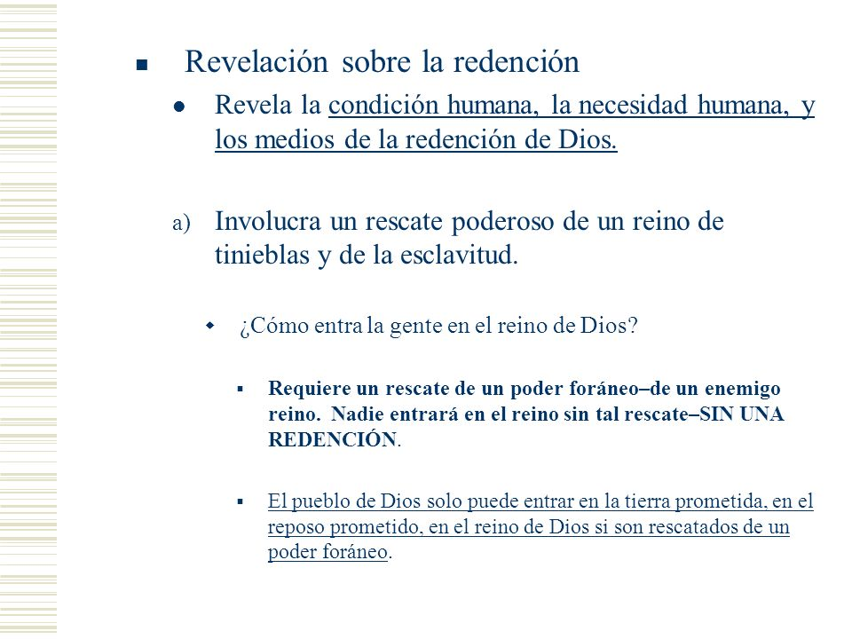 Revelación sobre la redención