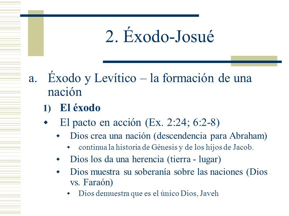 2. Éxodo-Josué Éxodo y Levítico – la formación de una nación El éxodo