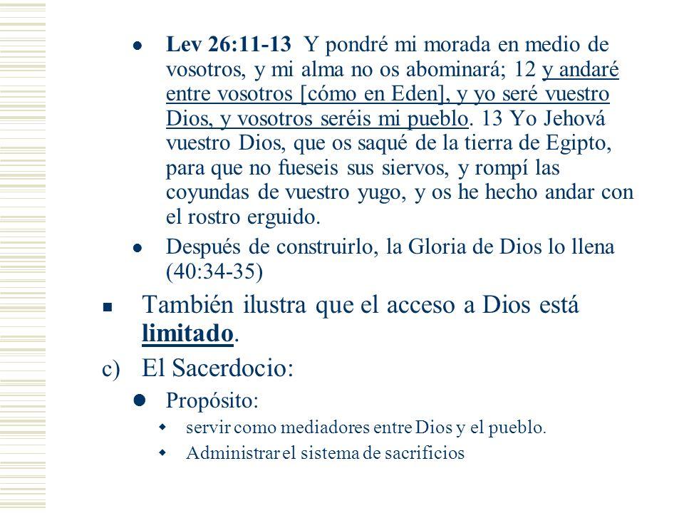 También ilustra que el acceso a Dios está limitado. El Sacerdocio: