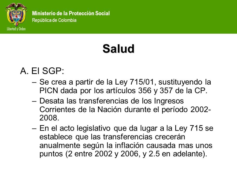 SaludA. El SGP: Se crea a partir de la Ley 715/01, sustituyendo la PICN dada por los artículos 356 y 357 de la CP.