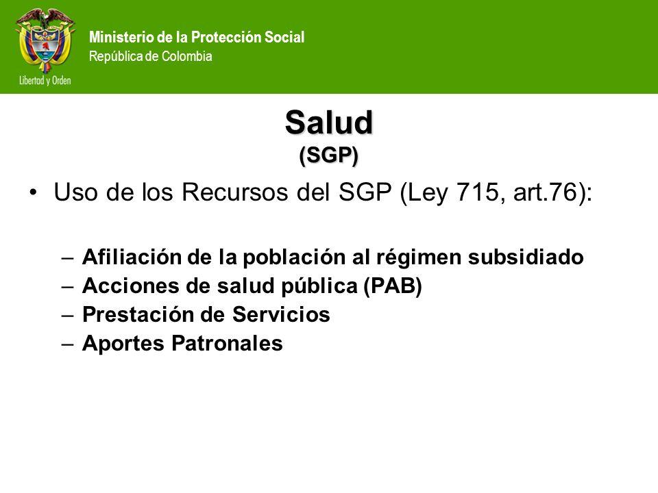 Salud (SGP) Uso de los Recursos del SGP (Ley 715, art.76):