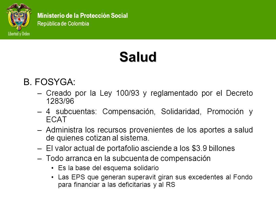 Salud B. FOSYGA: Creado por la Ley 100/93 y reglamentado por el Decreto 1283/96. 4 subcuentas: Compensación, Solidaridad, Promoción y ECAT.