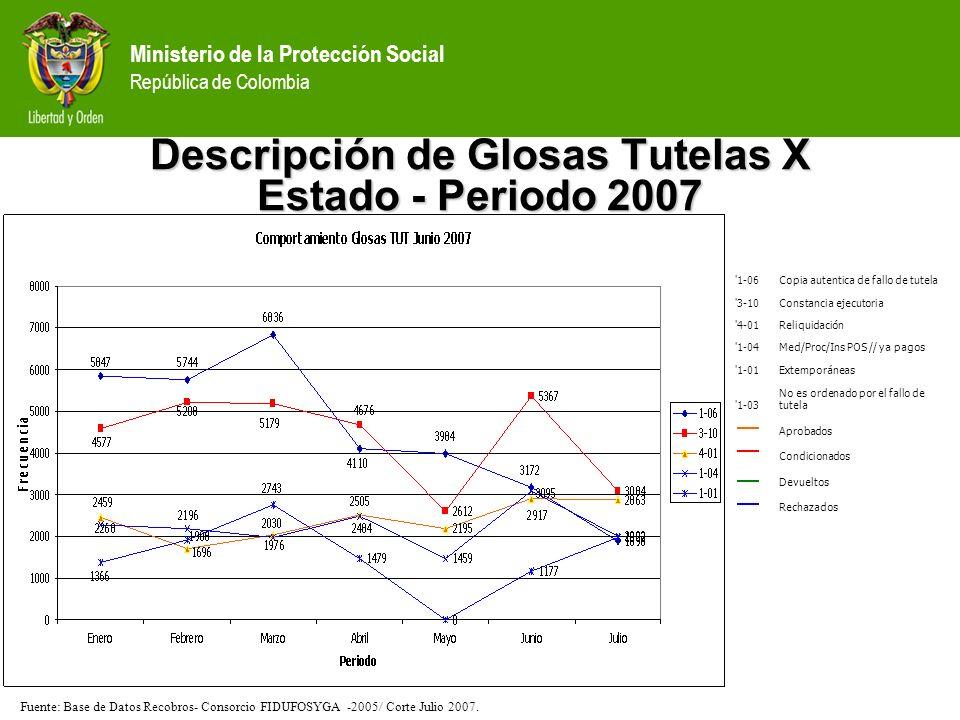 Descripción de Glosas Tutelas X Estado - Periodo 2007