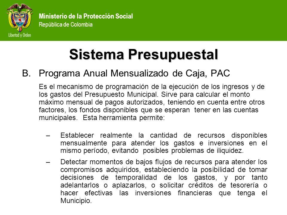 Sistema Presupuestal Programa Anual Mensualizado de Caja, PAC