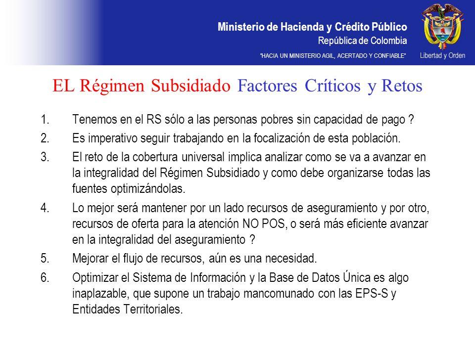 EL Régimen Subsidiado Factores Críticos y Retos