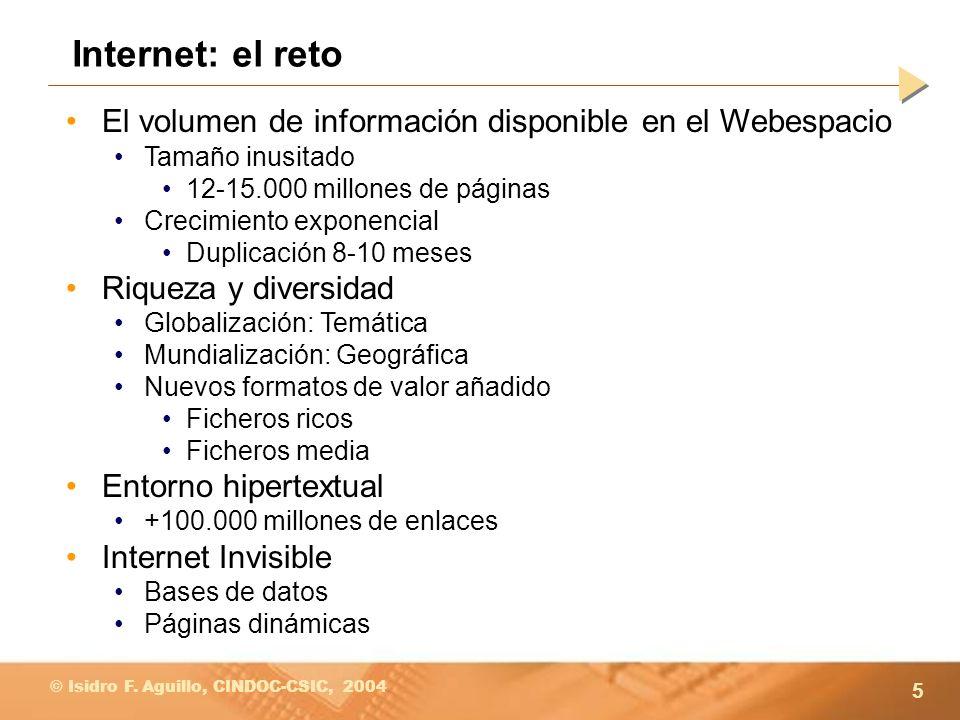 Internet: el reto El volumen de información disponible en el Webespacio. Tamaño inusitado. 12-15.000 millones de páginas.