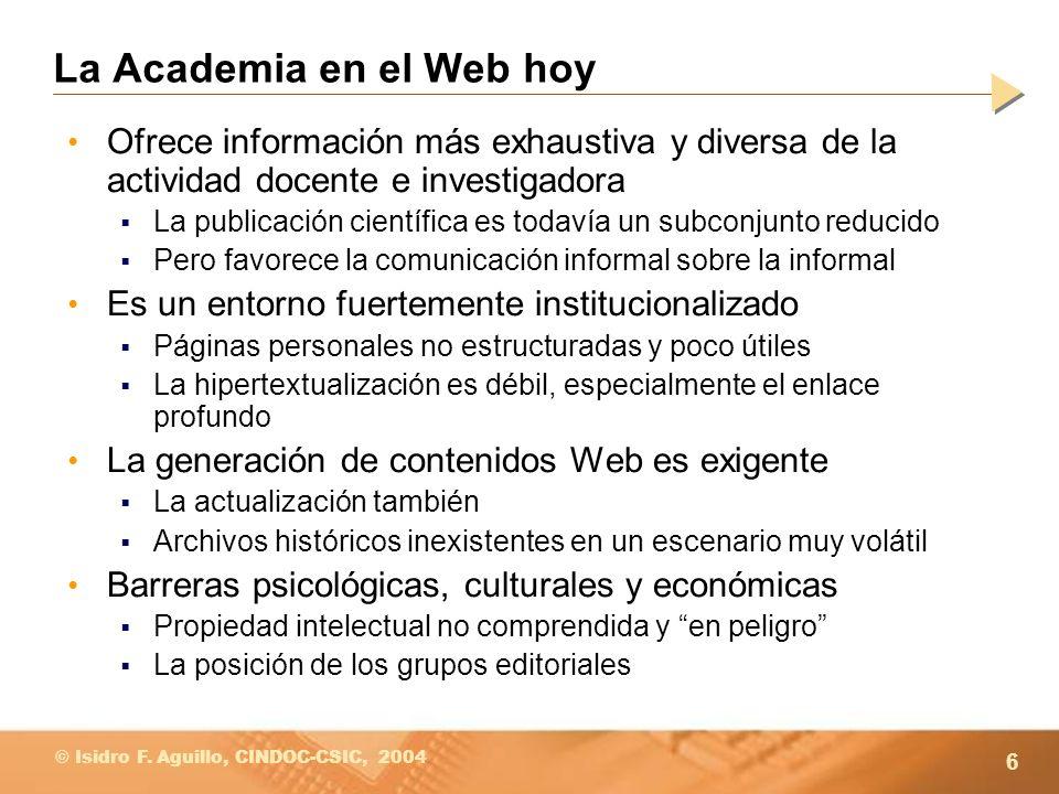 La Academia en el Web hoy