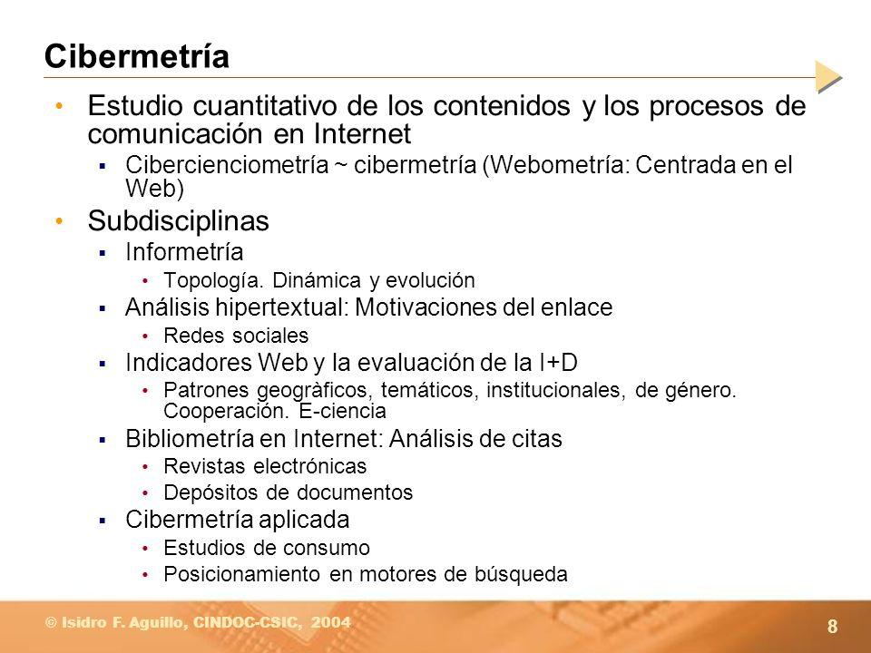 Cibermetría Estudio cuantitativo de los contenidos y los procesos de comunicación en Internet.