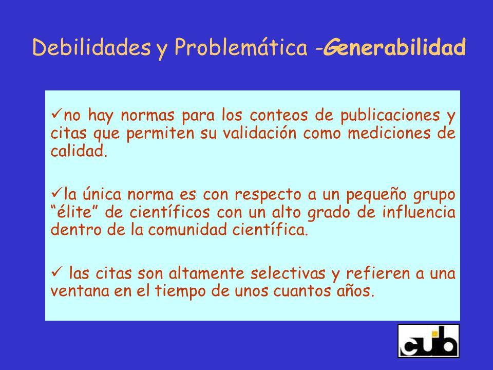 Debilidades y Problemática -Generabilidad
