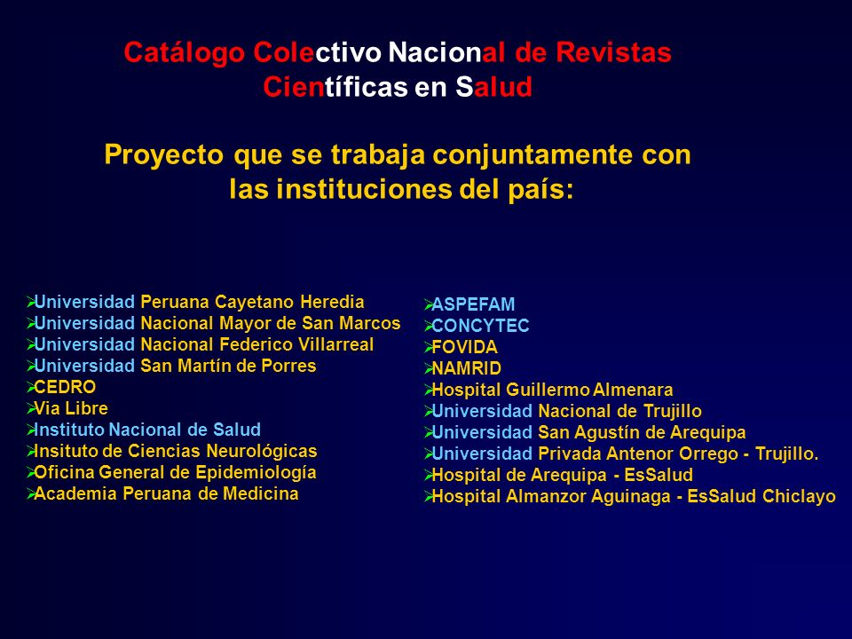 Catálogo Colectivo Nacional de Revistas Científicas en Salud