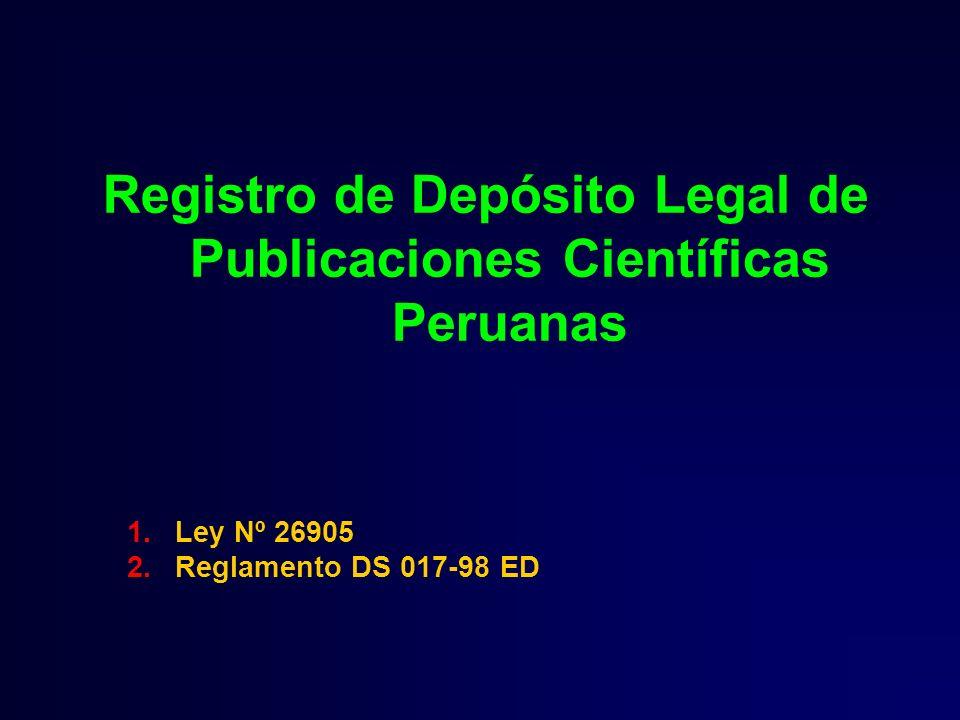 Registro de Depósito Legal de Publicaciones Científicas Peruanas
