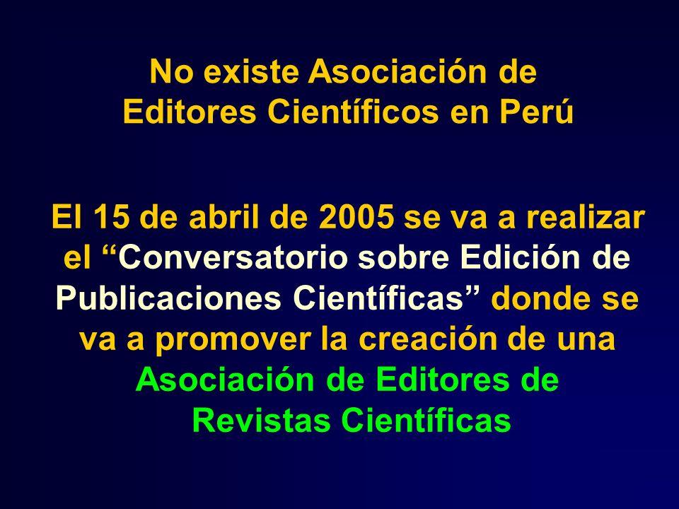 No existe Asociación de Editores Científicos en Perú