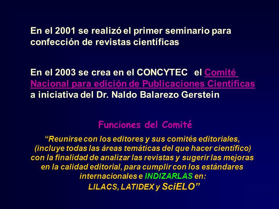 En el 2003 se crea en el CONCYTEC el Comité