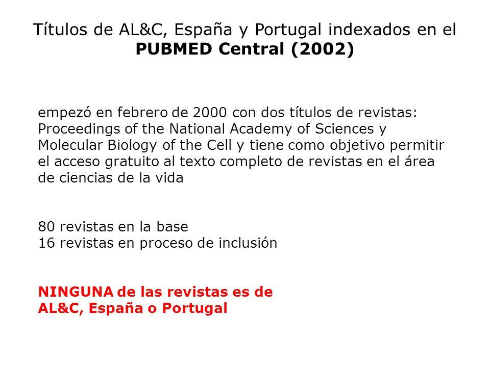 Títulos de AL&C, España y Portugal indexados en el PUBMED Central (2002)