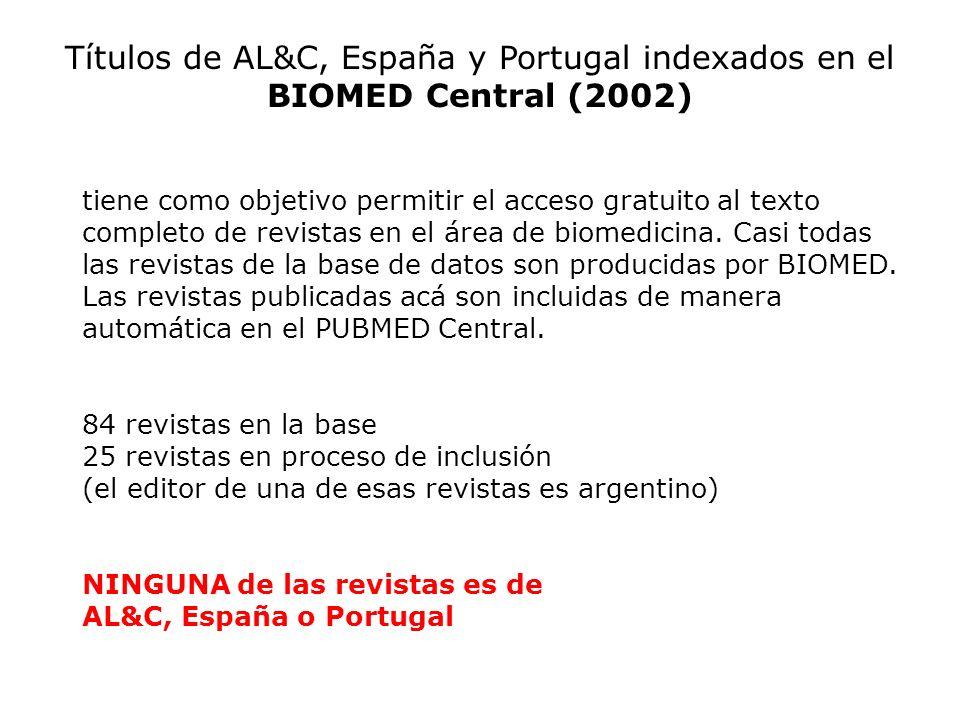 Títulos de AL&C, España y Portugal indexados en el BIOMED Central (2002)