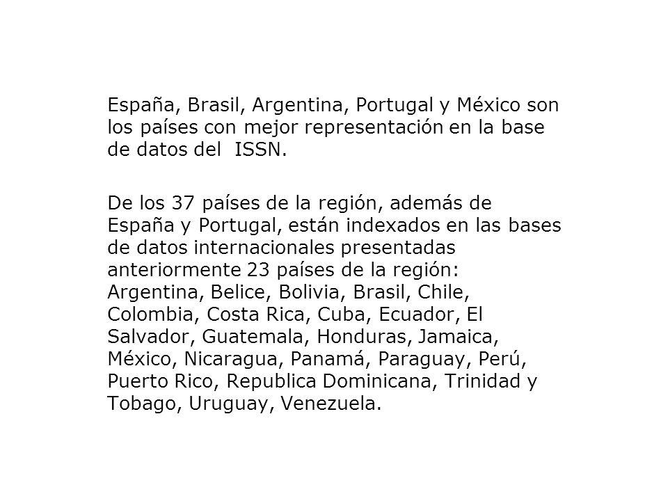 España, Brasil, Argentina, Portugal y México son los países con mejor representación en la base de datos del ISSN.