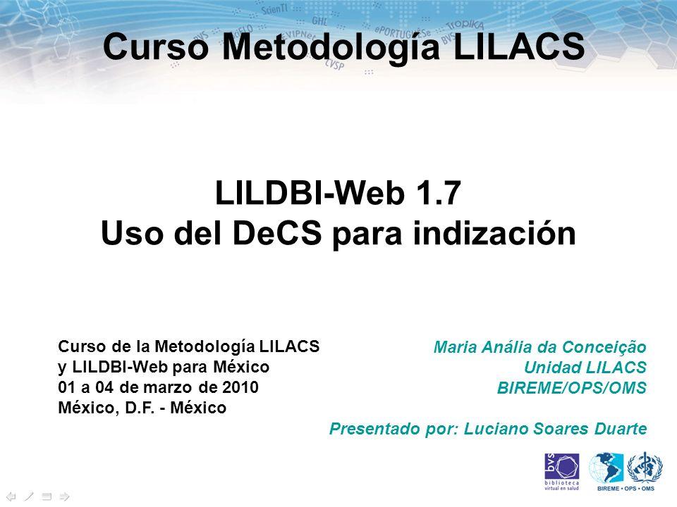 LILDBI-Web 1.7 Uso del DeCS para indización