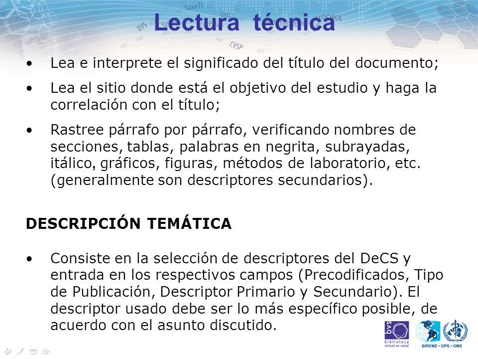 Lectura técnica DESCRIPCIÓN TEMÁTICA